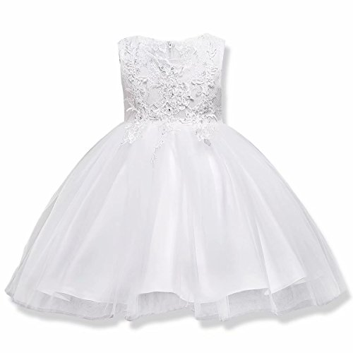 Elegant Pageant Dresses - AYOMIS Girls Lace Princess Party Formal Dresses Elegant Pageant Wedding Bridesmaid Prom High-Low Gown (White - knne,120)
