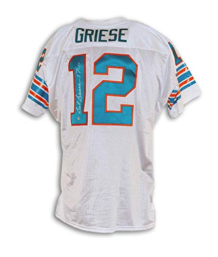 Bob Griese Miami Dolphins Autographed White Throwback Jersey Inscribed 17-0 - Certified Authentic Signature ()