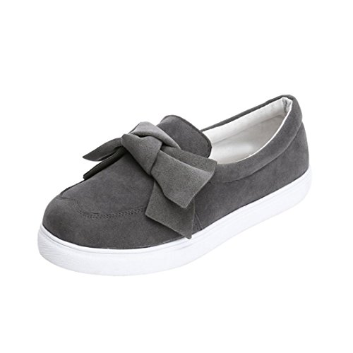 SUKEQ Women Platform Sneakers, Fashion Cute Bowknot Loafers Casual Slide On Sport Flats Sandals Slip On Classic Summer Shoes (6.5...
