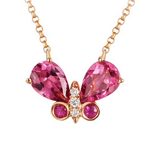 Epinki 18K Gold Necklace for Women Girls Butterfly Necklace Pink Tourmaline Necklace Chain Length 45CM by Epinki