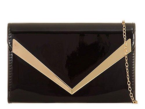 Arrow Bag Ladies Purse Patent Clutch Prom Black Chain Bridal New Leather Strap Trim Cvqwqtd