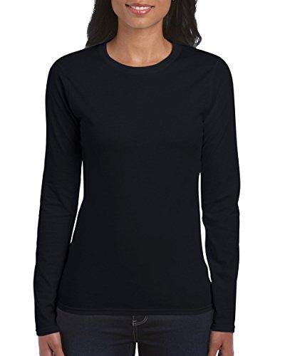 Gildan Ladies Soft Style Long Sleeve T-Shirt (L) (Black)