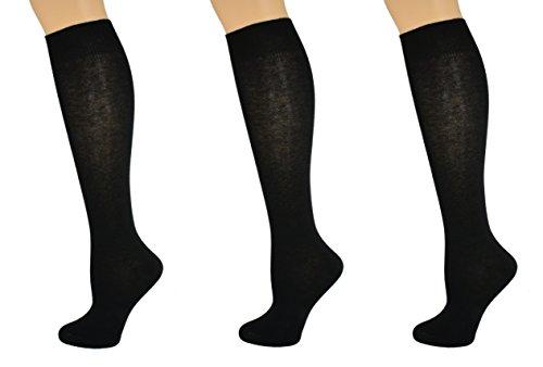 Sierra Socks Girl's School Uniform Knee High 3 pair Pack Cotton Socks G7200 (M/Shoe Size 12-6, Black)