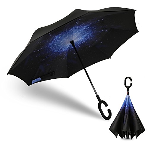 Inverted folding Umbrella, Amazer Double Layer Reverse Windproof UV Protection Umbrella Cars Big Straight Inverted Umbrellas for Car Rain Outdoor With Convenient C-Shaped Handle