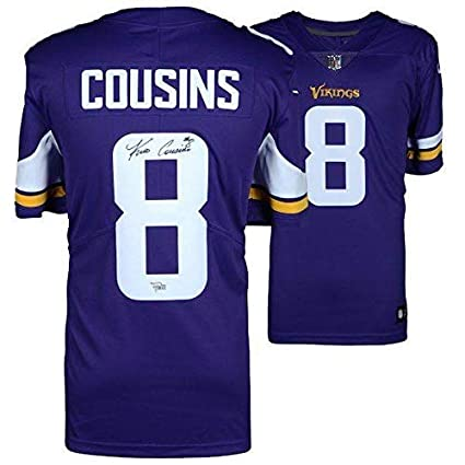 Image Unavailable. Image not available for. Color  Autographed Kirk Cousins  Jersey - Nike Purple Game ... 064bf12d6