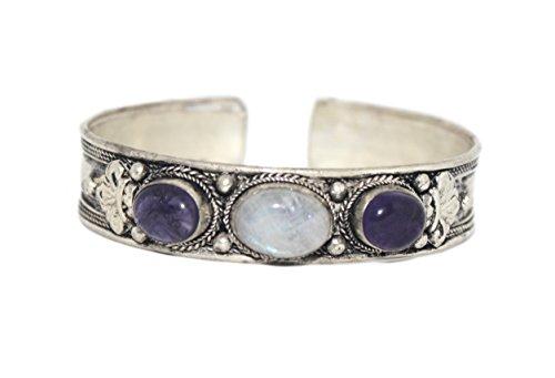Amethyst Moonstone Bracelet Tibetan Cuff Bracelet, Nepal Bracelet, Yoga Bracelet (BB47)
