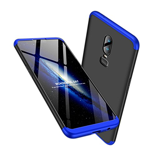 Leodea Oneplus 6 Case, 3 in 1 Ultra-Thin PC Hard Case Cover for Oneplus 6 2018 (Blue+Black)