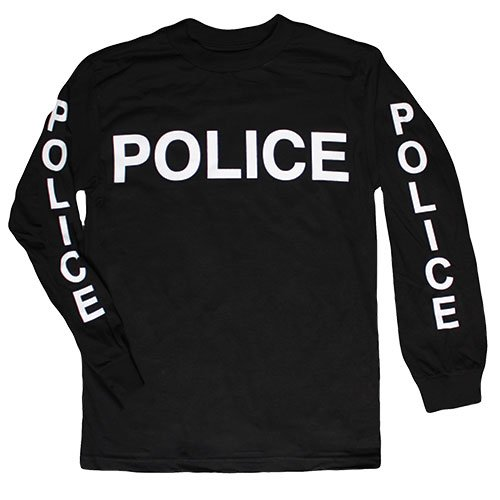 Fox Outdoor Products Police White Imprint On Sleeve Long Sleeve Imprinted T-Shirt, Black, Large (Shirts Imprinted)