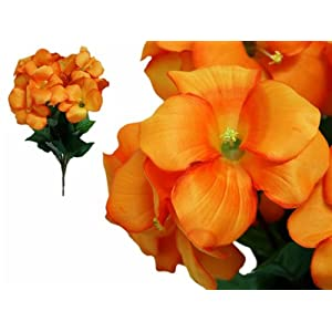 Tableclothsfactory 72 pcs Artificial Primrose Flowers for Wedding Arrangements - 4 Bushes - Orange 16