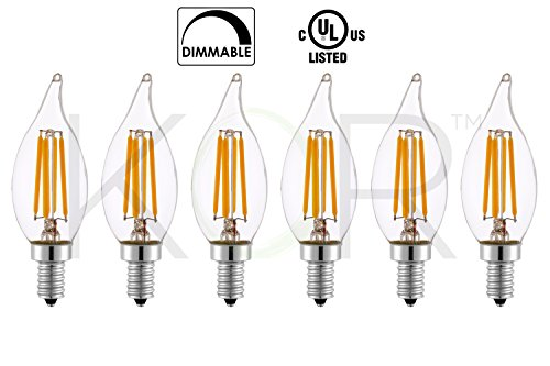 Flame Tip Light Bulb ((Pack of 6) 6 Watt LED Edison Filament (60 Watt Eqivalent) Dimmable LED Candelabra Chandelier Light bulb - CFC CA10 Flame Tip - Small Base (E12) - 2700K (Warm White Glow) - 120V)