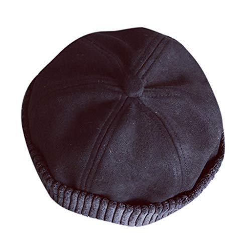 LIULIULIUUnisex Outdoor Military Hats Retro Winter Warm Faux Fur Sailor Hat Beanie Skull Cap Hat (Black)