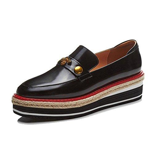 KJJDE Zapatos con Plataforma Mujeres WSXY-A1107 Accesorios Metálicos Serie Simple Black