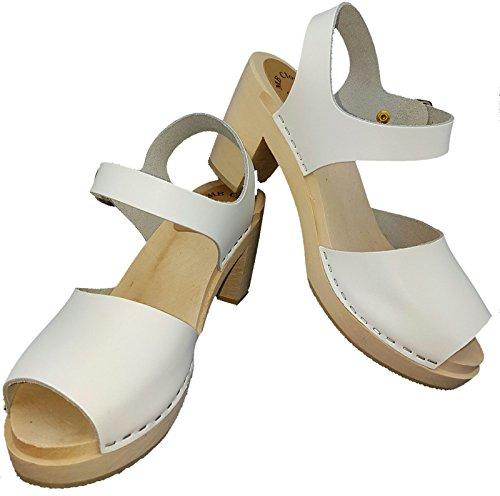 MB Clogs Original Schwedenclogs Damenclogs, Sandalette Weiß - Sandalias de vestir para mujer blanco Weiß, color blanco, talla 41 EU
