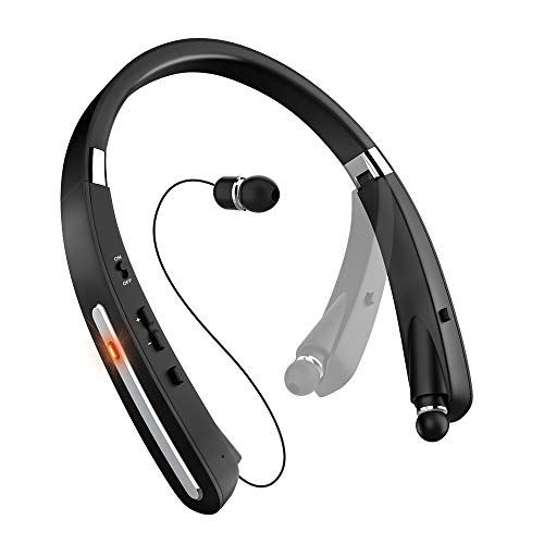 Bluetooth Headset, Bluetooth Headphones-EGRD 30 Hrs Playtime Wireless Neckband Design W/Foldable Retractable Headset Compatible Cellphones as iPhone Xs MAX/ 8/7 Plus Samsung Galaxy S9 Note 8