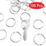 "1"" (25mm) Nickel Plated Silver Steel Round Edged Split Circular Keychain Ring Clips"