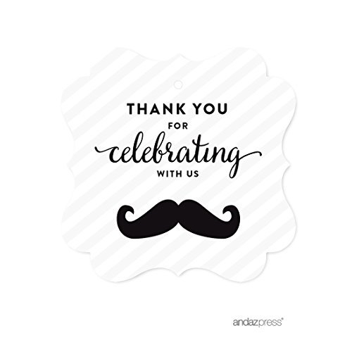 Mustache Gift Tags (Andaz Press Birthday Fancy Frame Gift Tags, Thank You for Celebrating With Us, Mustache Black, 24-Pack, For Gifts and Party Favors)