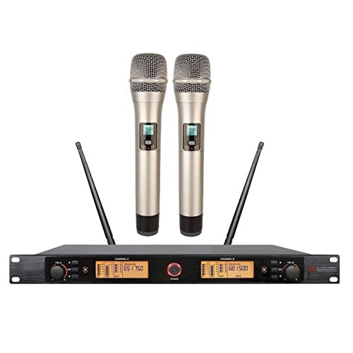 uhf wireless microphone Karaoke Professional wireless microphone Dual Channels PLL For Church,Home Karaoke, Business Meetings.Easy To Set Up by Poly audio