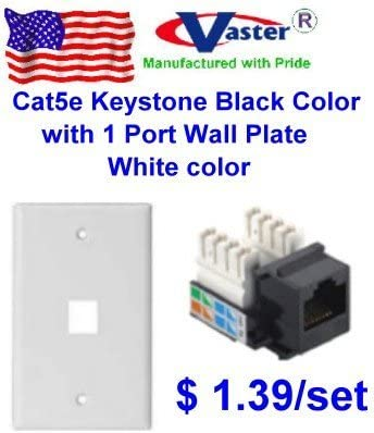 amazon.com: vastercable, cat5e punch down keystone jack black color, with  1port rj 45 keystone wall plate, white color: computers & accessories  amazon.com