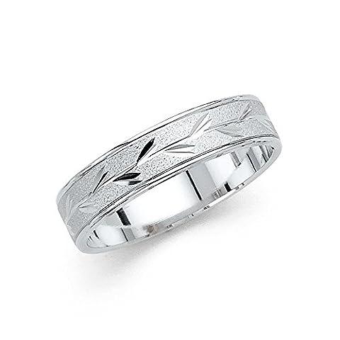 14K Solid White Gold Leaf Engraved 5MM Comfort Fit Wedding Band, Size 7 (Leaf Ring White Gold)