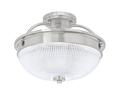 Aspen Creative 63501 3 Semi Flush Mount Ceiling Light Fixture, Transitional Design in Brushed Nickel Finish, Patterned Glass Shade, 12 3/4