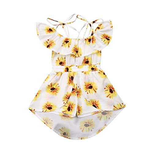 Baby Girls' Sunflower Print Ruffles Off-Shoulder Tops with Shorts Dress Skirts Headband Sets Outfits Clothes (1T, White-2) ()