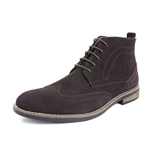 Brown Suede Leather Mens (Bruno Marc Men's URBAN-02 Dark Brown Suede Leather Lace Up Oxfords Desert Boots - 6.5 M US)
