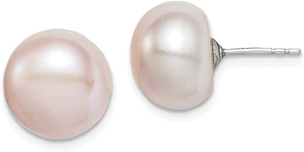 Solid 925 Sterling Silver 11-12mm Pink FW Cultured Button Simulated Pearl Stud Earrings