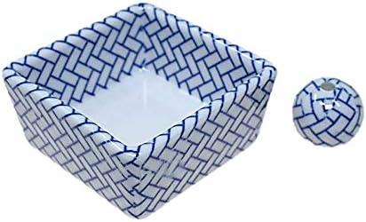 和モダン 檜格子 お香立て 陶器 角鉢 香立 ACS WEB SHOPオリジナル