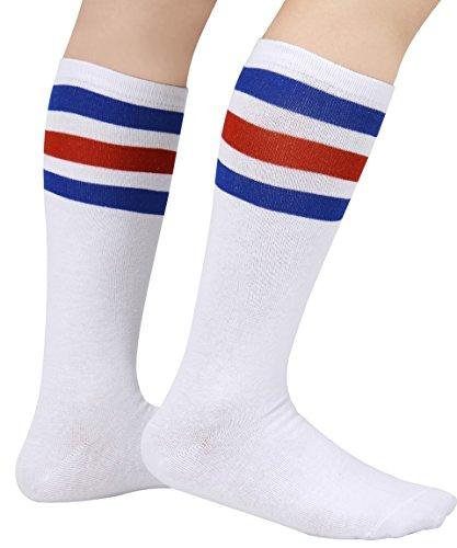 Socks Tube Classic (Eleray 1 to 3-Pack Classic Triple Stripes Soft Cotton Knee High Tube Socks Triple Stripes Soft Cotton Knee High Tube Socks (a-Pairs(Blue/Red/White)))