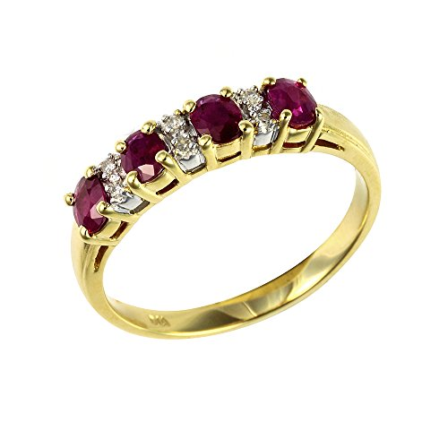 Ivy Gems 9ct Yellow Gold Ruby and Diamond Half Eternity Ring - Size O