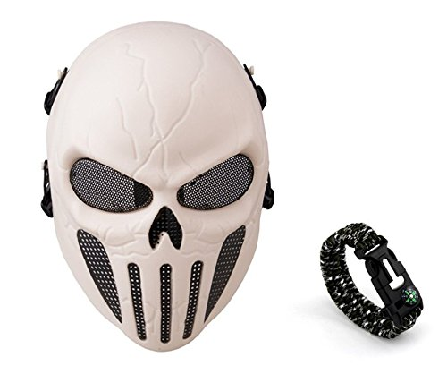 Tech-p Punisher Skeleton Mask - Protective Mask Gear for Use As Tactical Mask & Airsoft and Outdoor Cs War Game Mask - Scary Ghost Mask for Halloween - White Color Cosplay Mask