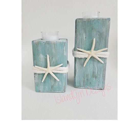 Wooden Beach Starfish Candle Holder (Centerpiece Driftwood Wedding)