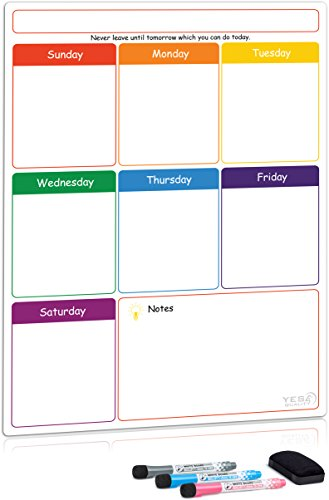 Magnetic Dry Erase Weekly Planner Board for Refrigerator by Yes4Quality | Weekly Whiteboard Calendar w/Stain Resistant Technology | for Family Home Office Fridge Use | 3 Markers amp an Eraser Includ