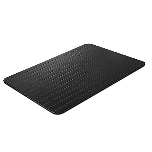 Flexzion Fast Defrosting Tray - Aluminum Alloy Metal Quickly Thawing Plate Board Without Electricity Microwave Hot Water or Any Other Tools for Frozen Food Meat Beef Pork Chop Fish Time Saving Black