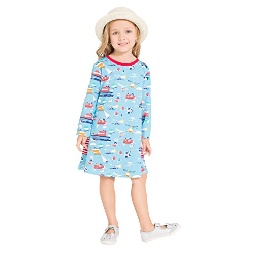 Womens Peter Pan Costume Pattern (Zebra Fish Girls Cotton Cute Long sleeve Casual Dresses Good print and stripe pockets size 4-5)
