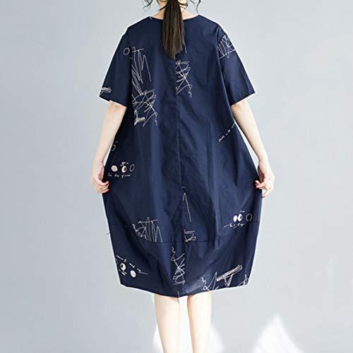 Robe en De amp; Chic Courtes Manches Bohe Angelof Casual Femme Poche Coton Fillette Loose pour Marine Impression Longue Robe f8Aqda7