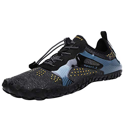 iHPH7 Shoes Trail Running Minimalist Barefoot Shoe Quick-Dry Water Shoes Pool Beach Swim Drawstring Shoes Creek Diving Shoes for Women or Men (46,Black)