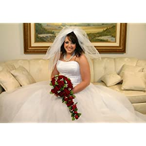 Red Silk Rose Cascade - Bridal Wedding Bouquet 2