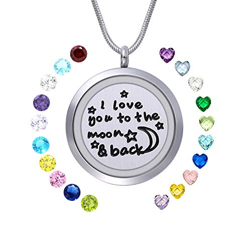(WIGERLON Family Tree of Living Memory Lockets Stainless Steel Necklace Pendant with Birthstones Gifts for Your Love)