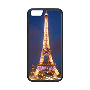 Paris France Eiffel Tower Case/Cover FOR Apple iphone 6 4.7 (Laser Technology) - Black/WHITE - Rubber Case