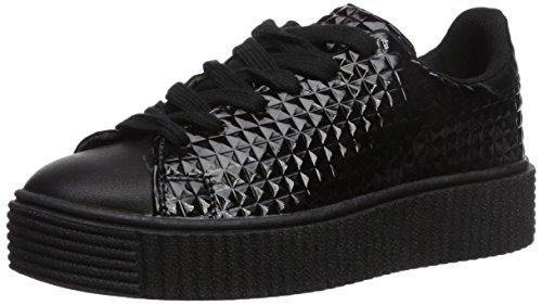 Qupid Women's Paisley-01 Sneaker, Black, 7 M US