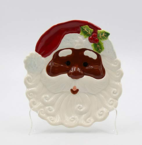 Fine Ceramic African American Santa Claus Plate Set of 2 (2 pcs Set), 8