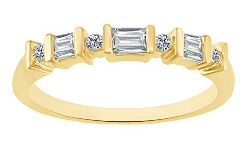 AFFY 0.2 Carat (ctw) Baguette White Natural Diamond Anniversary Ring in 10K Solid Yellow Gold(I-J Color, I2-I3 (0.2 Ct Baguette)