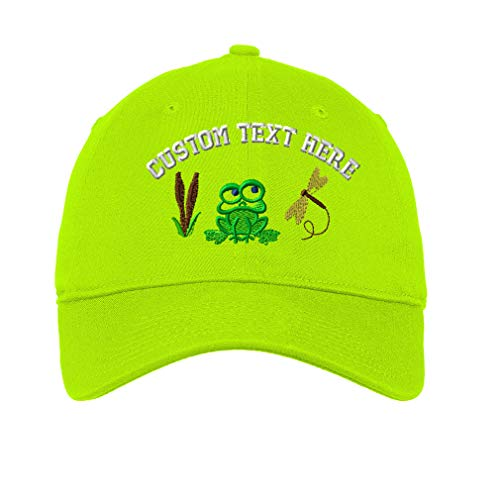 (Custom Cute Frog Style 2 Embroidery Design Unisex Adult Flat Solid Buckle Cotton 6 Panel Unstructured Baseball Hat Adjustable Cap - Lime, One Size)