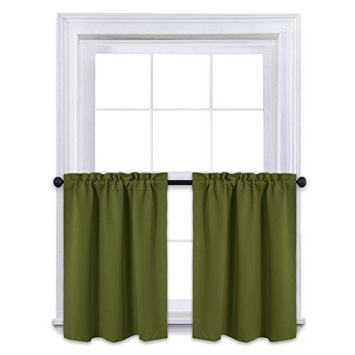 NICETOWN Window Valance Blackout Curtain Panels - Window Treatment Thermal Insulated Draperies for Basement Windows with Rod Pocket (One Pair, 29