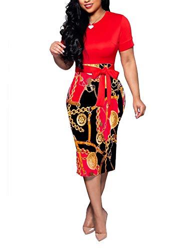 Women' Short Sleeve Bodycon Dress -Cute Bowknot Floral Pencil Dress Medium Red