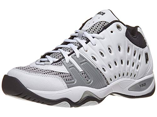Prince Men's T22 Mid Tennis Shoe,White/Black/Silver,11 M US