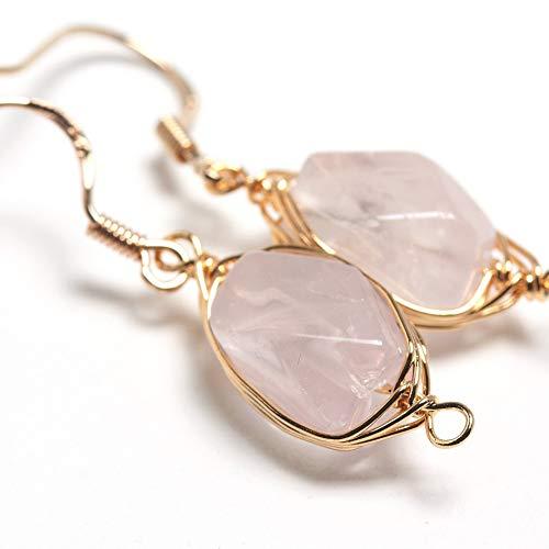 Quartz Sapphire Rose - Natural Stone Wire Wrap Dangle Drop Earrings Gold Plated 925 Sterling Silver Hook/Rose Quartz Cut