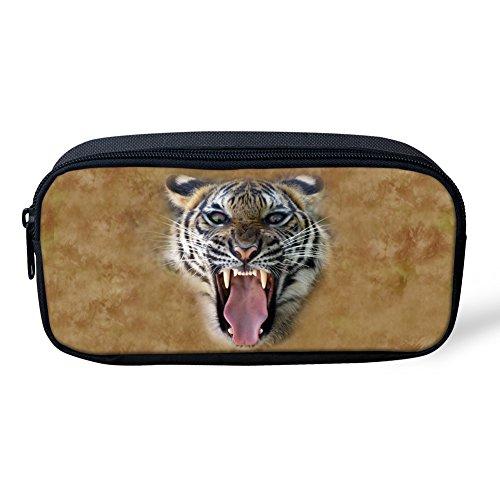 Showudesigns Children Pencil Bag Case School Supplies Tiger Head Printing Brown