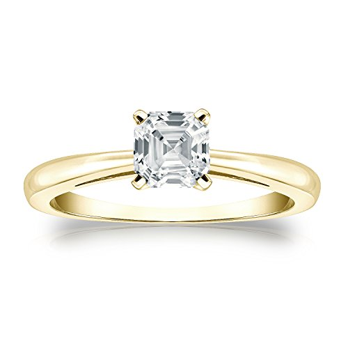 - Diamond Wish 18k Yellow Gold Asscher-cut Diamond Solitaire Ring (3/4 carat TW, White, SI2-I1, IGI Certified) 4-Prong, Size 8.5